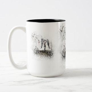 Ilustración del chica del gótico de la sepia taza de café