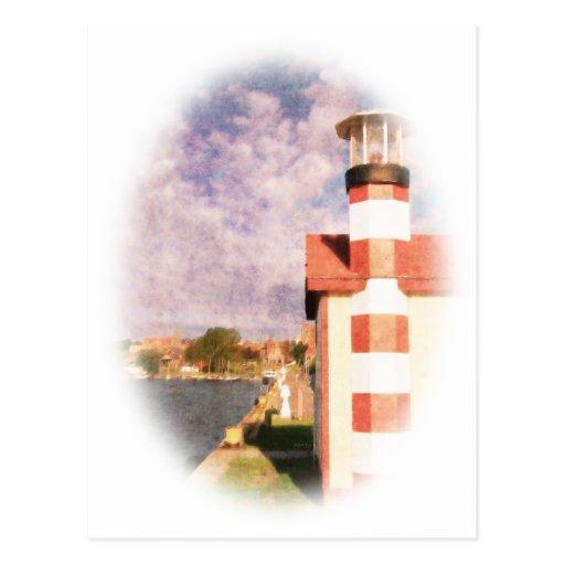 Ilustración del puerto de la orilla del lago tarjetas postales