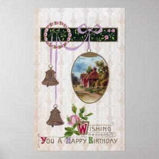 Ilustración en cumpleaños del vintage del huevo póster