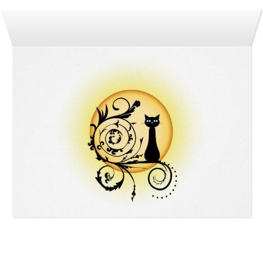 Ilustración gato sobre rama y luna de fondo tarjetas