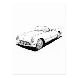Ilustraciones 1953 de Chevrolet Corvette C1 Tarjetas Postales