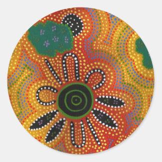 Ilustraciones aborígenes pegatina redonda