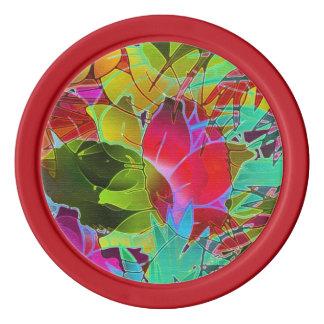 Ilustraciones abstractas florales de la ficha de fichas de póquer