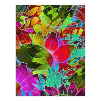 Ilustraciones abstractas florales de la postal