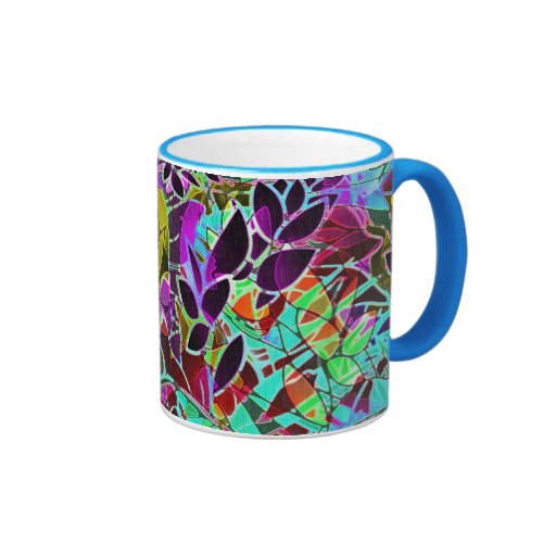 Ilustraciones abstractas florales de la taza