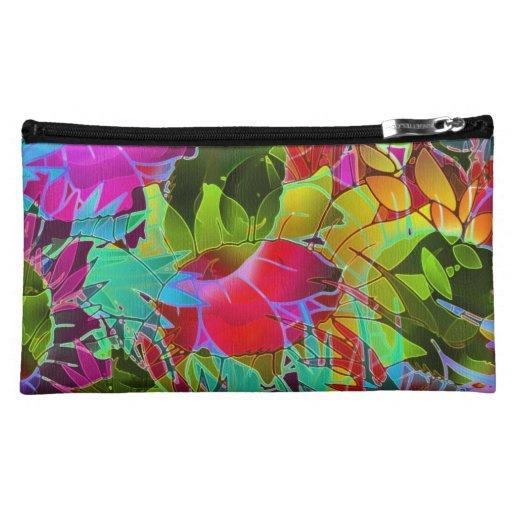 Ilustraciones abstractas florales del bolso cosmét