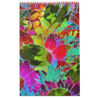 Ilustraciones abstractas florales del calendario
