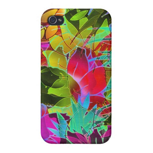 ilustraciones abstractas florales del caso del iPh iPhone 4/4S Carcasas