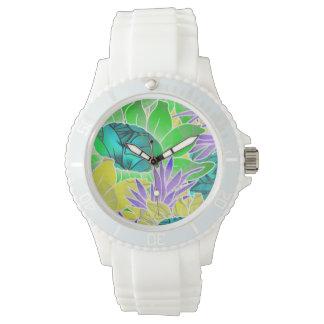 Ilustraciones abstractas florales del reloj