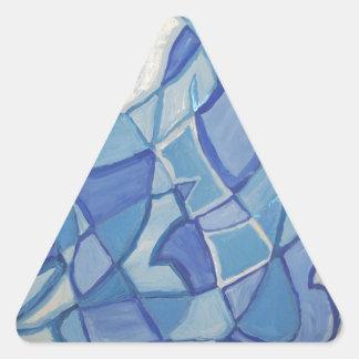 Ilustraciones abstractas originales azules claras pegatina triangular