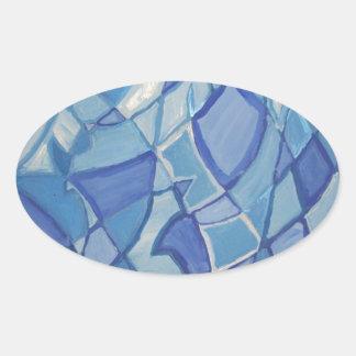 Ilustraciones abstractas originales azules claras pegatina ovalada