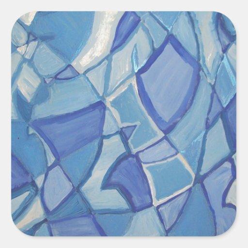 Ilustraciones abstractas originales azules claras pegatina cuadrada