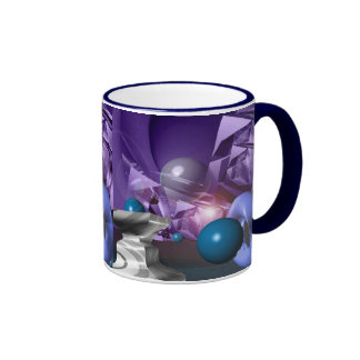 Ilustraciones abstractas púrpuras de encargo taza a dos colores