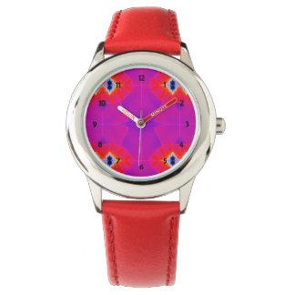 Ilustraciones anaranjadas púrpuras psicodélicas relojes de pulsera
