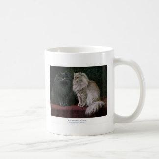 Ilustraciones azules y poner crema del gato persa taza