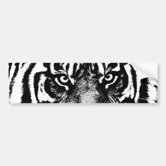 Ilustraciones blancas negras del ojo del tigre de pegatina para auto