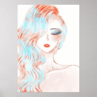 Ilustraciones coloreadas neón del chica póster