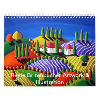 Ilustraciones coloridas de Renie Britenbucher de Calendario