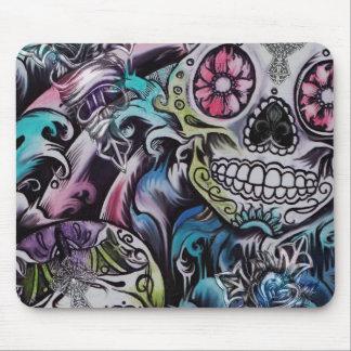 Ilustraciones coloridas de skull dia de los muerto alfombrilla de ratones