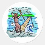 Ilustraciones cristianas de despedida del Mar Rojo Pegatina Redonda