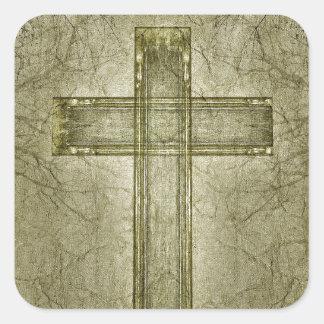 Ilustraciones cruzadas cristianas del símbolo pegatina cuadrada