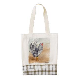 Ilustraciones de la acuarela del gallo del pollo bolsa tote zazzle HEART