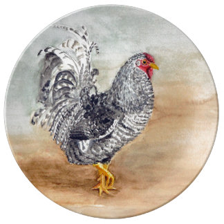 Ilustraciones de la acuarela del gallo del pollo platos de cerámica
