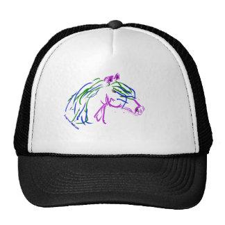 Ilustraciones de la cabeza de caballo, púrpuras y  gorros