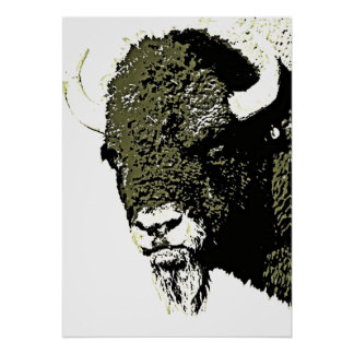 Ilustraciones de la cabeza del búfalo del bisonte póster