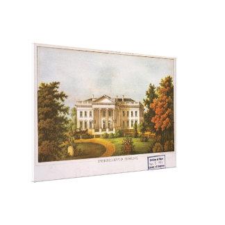 Ilustraciones de la Casa Blanca del vintage (1870) Impresión En Lona Estirada