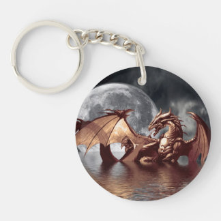 Ilustraciones de la fantasía del dragón y de la llavero redondo acrílico a doble cara