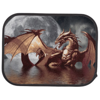 Ilustraciones de la fantasía del dragón y de la lu alfombrilla de auto