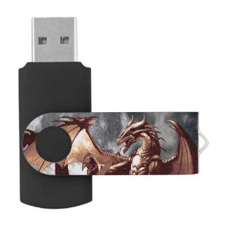 Ilustraciones de la fantasía del dragón y de la memoria USB 2.0 giratoria