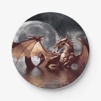 Ilustraciones de la fantasía del dragón y de la plato de papel de 7 pulgadas