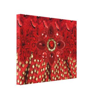 Ilustraciones de la lona con las falsas joyas y impresión de lienzo