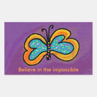 Ilustraciones de la mariposa de los pegatinas del rectangular pegatinas