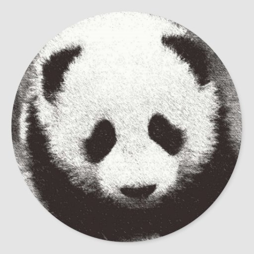 Ilustraciones de la panda pegatina redonda