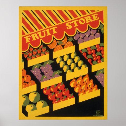 Ilustraciones de la tienda de la fruta del vintage póster