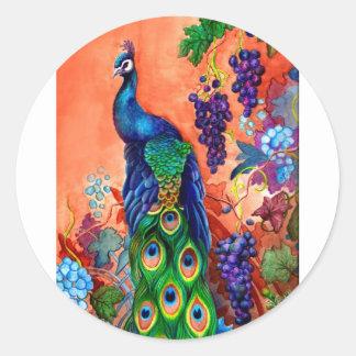 Ilustraciones de la uva del pavo real pegatina redonda
