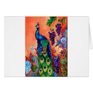 Ilustraciones de la uva del pavo real tarjeta de felicitación