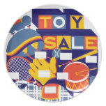 Ilustraciones de la venta del juguete del vintage platos