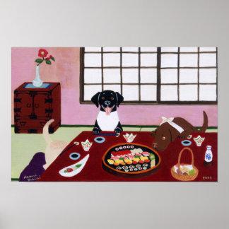 Ilustraciones de Labradors del fiesta del sushi Posters