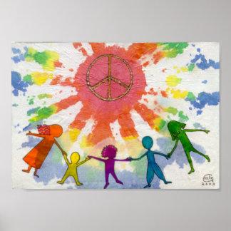 Ilustraciones de las técnicas mixtas de la paz del póster