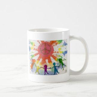 Ilustraciones de las técnicas mixtas de la paz del taza de café