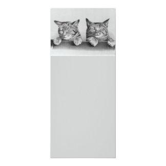 Ilustraciones de los gatitos del vintage invitación 10,1 x 23,5 cm