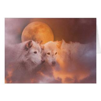 Ilustraciones de los lobos del lobo tarjeta de felicitación