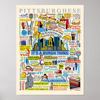 Ilustraciones de Pittsburghese de la diversión de  Posters