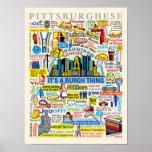 Ilustraciones de Pittsburghese de la diversión de  Póster