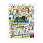 Ilustraciones de Pittsburghese de la diversión de  Tarjeta Postal