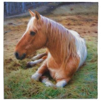 Ilustraciones de reclinación del caballo del Pinto Servilleta Imprimida